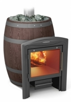 Банная печь Вариата Баррель Inox витра палисандр
